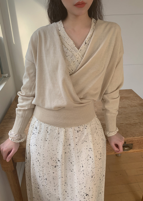 BALLOON WRAP KNIT TOP(CREAM, PINK, MINT GREY, BROWN, BLACK 5COLORS!)