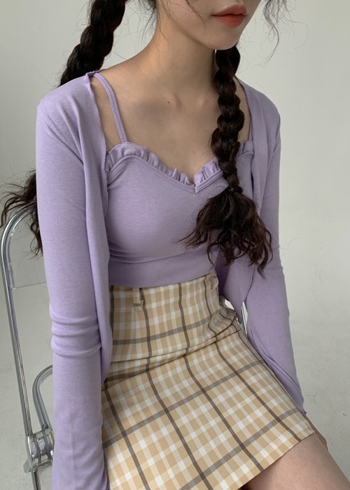SELENA FRILL SLEEVELESS CARDIGAN SET(PURPLE)