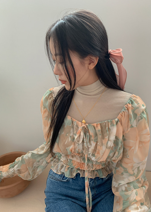 ROMANCE FLORAL CHIFFON BLOUSE(ORANGE, PINK 2COLORS!)