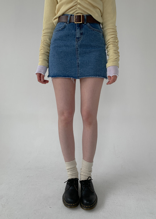 90'S CUTTING DENIM SKIRT(LIGHT WASH, DARK WASH 2COLORS!)
