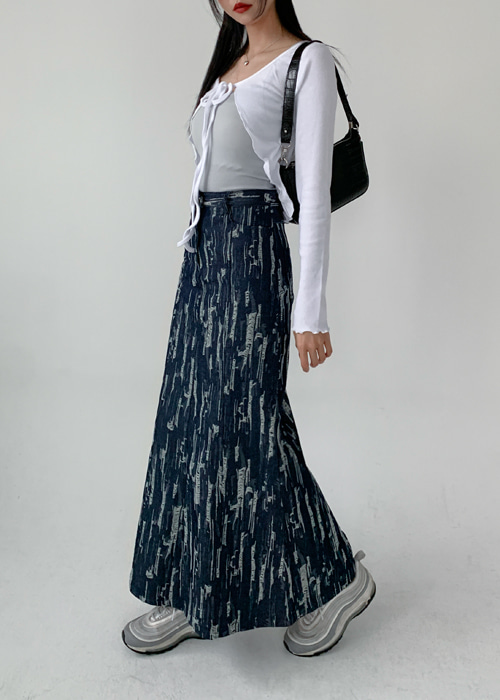 DAMAGE PATTERN DENIM LONG SKIRT