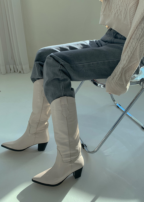 POINTED STITCH WESTERN BOOTS(IVORY, BLACK 2COLORS!)