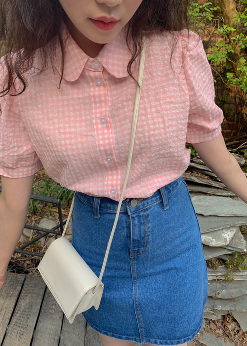 CHECK COLLAR BALLOON SHIRT(BEIGE, PINK, SKY BLUE 3COLORS!)