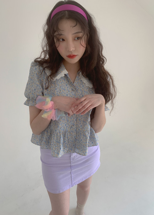 LACE COLLAR PUFF FLORET BLOUSE(BLUE, VIOLET 2COLORS!)