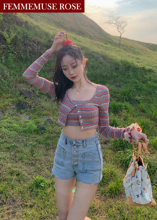❀FEMMEMUSE ROSE❀ RETRO STRIPE CROP TOP CARDIGAN SET(RED, NAVY 2COLORS!)