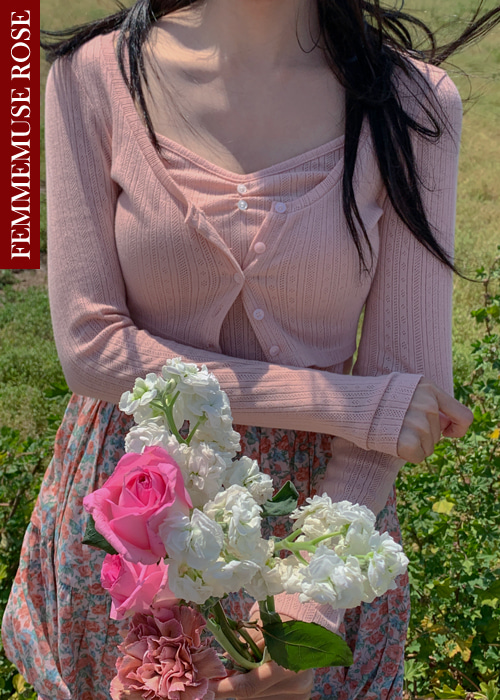 ❀FEMMEMUSE ROSE❀ JOLIE CROP TOP CARDIGAN SET(8 COLORS!)