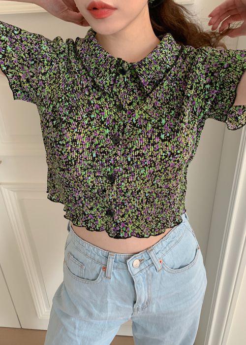 BECKY FLORET PLEATS SHIRT CROP TEE(NAVY, BLACK 2COLORS!)