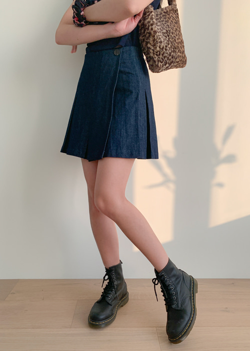 70'S KITSCH DENIM SKIRT(LIGHT WASH, DARK WASH 2COLORS!)