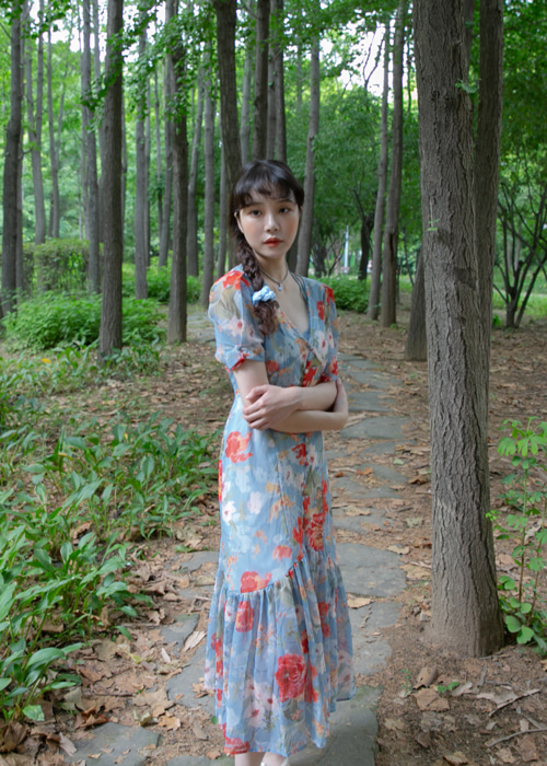 FLOWER CHIFFON BUTTON DRESS