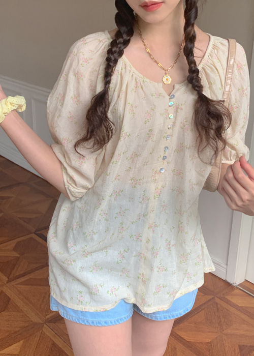 FLORAL MELO SHIRTS BLOUSE(YELLOW, PINK 2COLORS!)