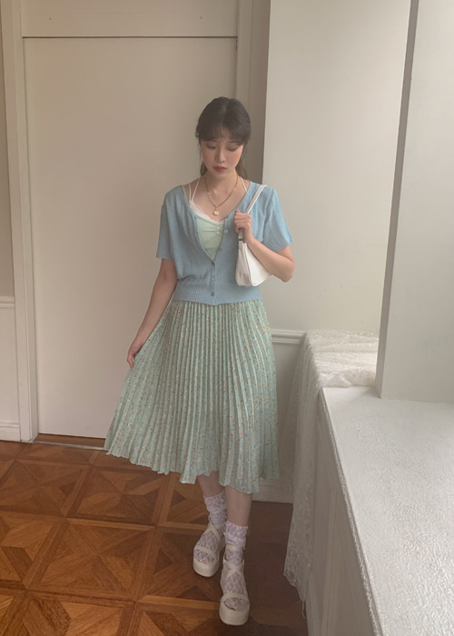 FLORAL PLEATS LONG SKIRT(YELLOW, MINT 2COLORS!)