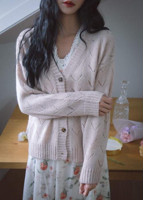 ALPACA PUNCHING CARDIGAN(BEIGE, ORANGE 2COLORS!)
