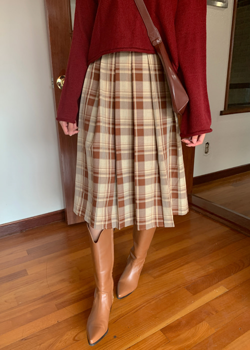 CLASSIC CHECK PLEATS SKIRT(BROWN, GREEN, BLUE 3COLORS!)