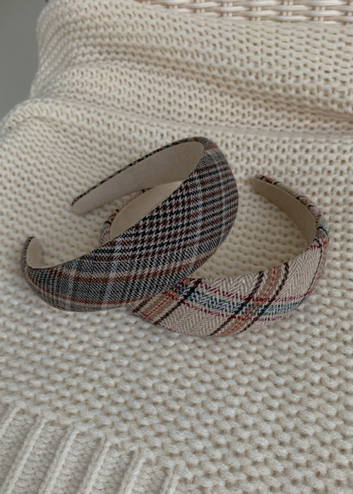 CLASSIC CHECK HAIR BAND(BEIGE, BROWN 2COLORS!)
