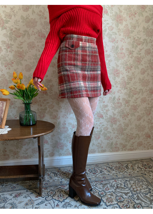 WOOL CHECK SIDE POCKET SKIRT(RED, GREEN, NAVY 3COLORS!)
