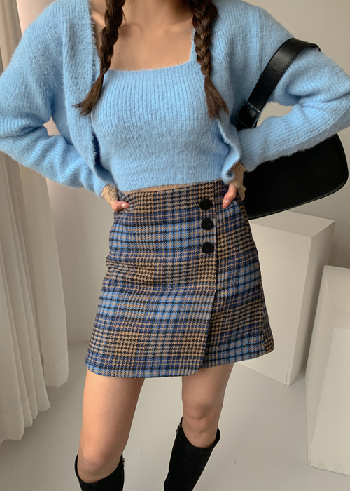 QUEEN CHECK 3BUTTON SKIRT(CHECK, BLACK 2COLORS!)