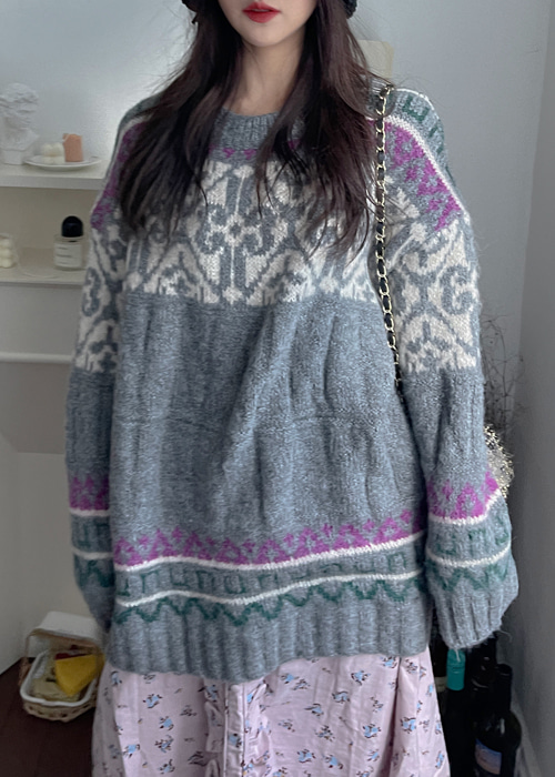 BOHEMIAN VINTAGE PATTERN LONG KNIT(IVORY, NAVY, GREY 3COLORS!)