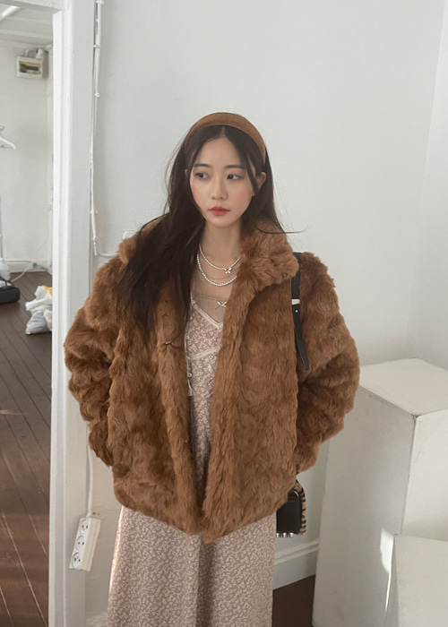 HIGHNECK FUR JACKET COAT(BEIGE, BROWN 2COLORS!)