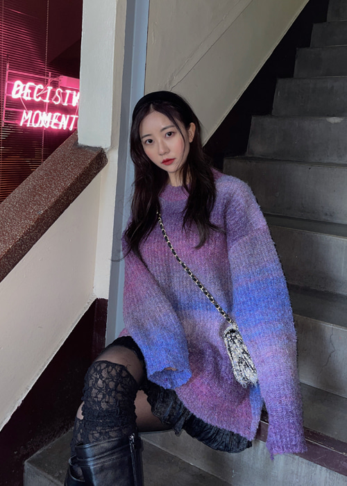 RAINBOW OVERSIZE LONG KNIT(VIOLET, BLUE 2COLORS!)