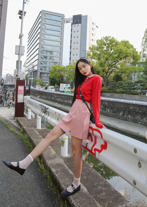 RETRO CHECK MINI SKIRT(RED, BLACK 2COLORS!)