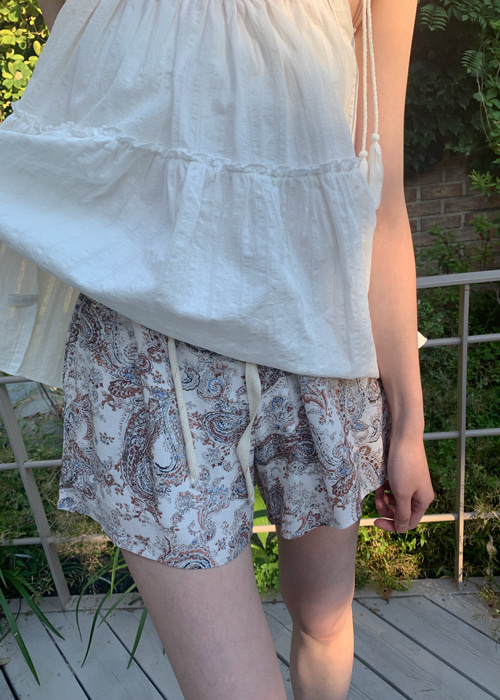 (♥팜므뮤즈 단독진행♥)PAISLEY BANDING SHORT PANTS(IVORY, NAVY 2COLORS!)
