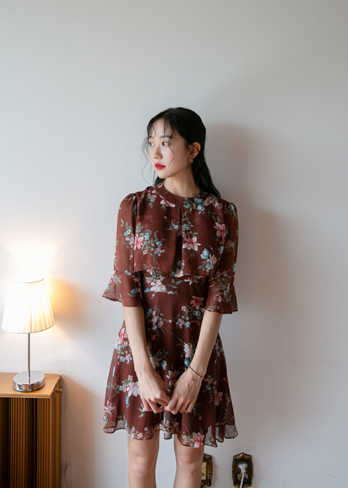 JOANNA FLORAL CHIFFON DRESS(IVORY, BROWN 2COLORS!)