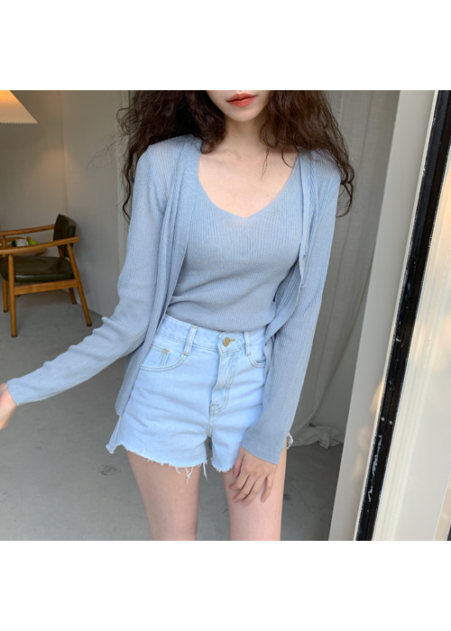 SUMMER V-NECK SLIM KNIT TOP CARDIGAN SET(IVORY, BEIGE, YELLOW, SKYBLUE, BLACK 5COLORS!)(*개별구매가능!*)