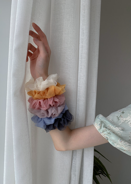 ORGANZA HAIR BAND(IVORY, YELLOW, PINK, SKY BLUE, GREY, BLACK 6COLORS!)