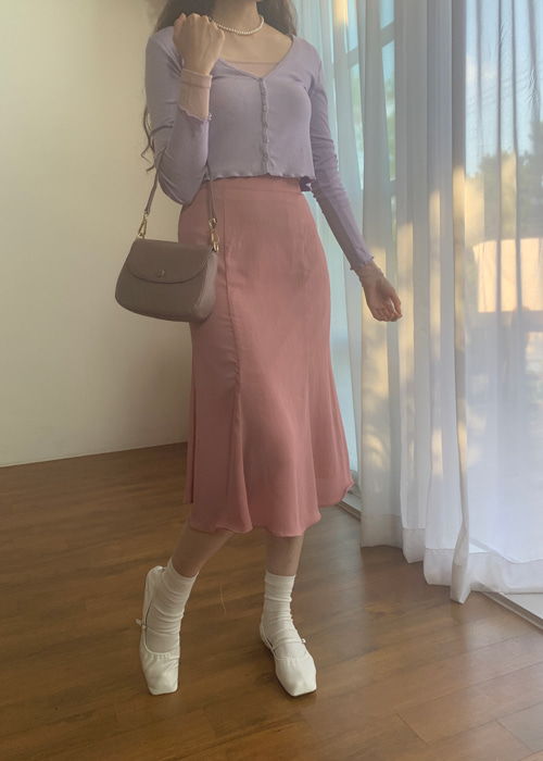 (♥팜므뮤즈 단독진행♥)PASTEL MIDI FLARED SKIRT(IVORY, PINK, MINT, BLACK 4COLORS!)