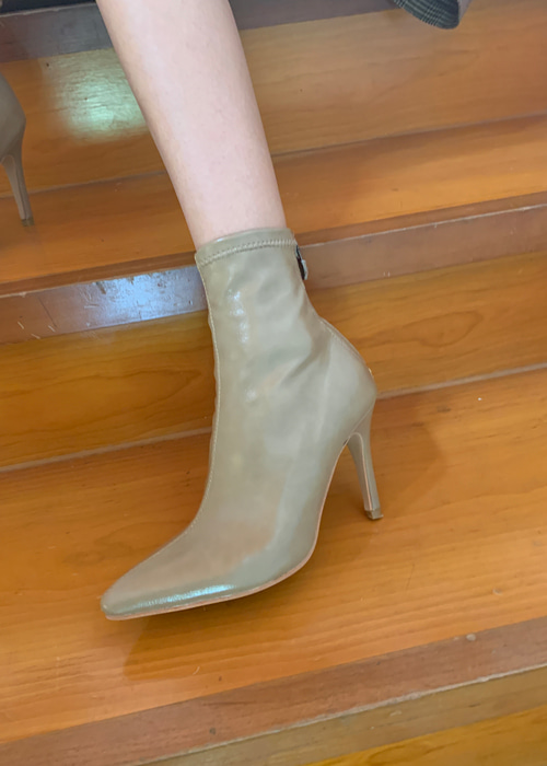 POINTED BOOTIE HEEL(IVORY, DARK BEIGE, BLACK 3COLORS!)