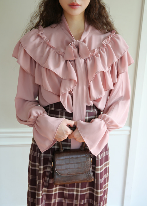 LAVENDER RUFFLE RIBBON BLOUSE(IVORY, PINK 2COLORS!)