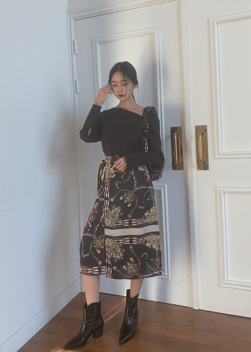 ANTIQUE LAYERED WRAP SKIRT (IVORY, BLACK 2COLORS!)