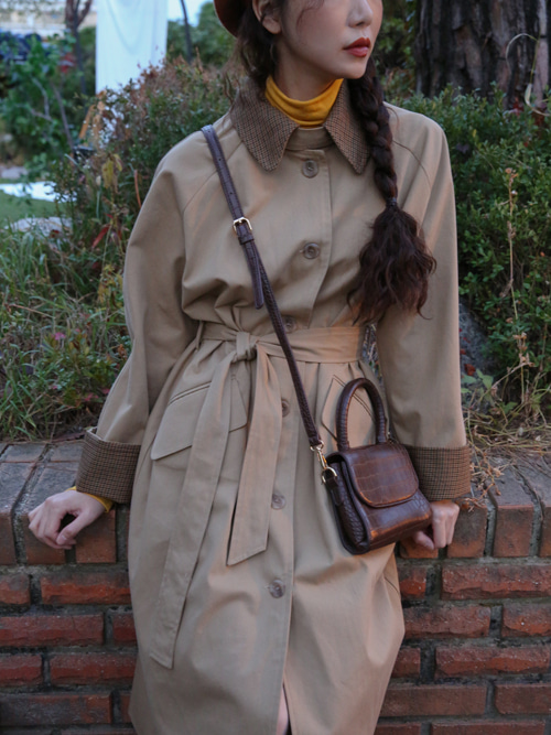 90'S CHECK COLLAR TRENCH COAT(BEIGE, KHAKI 2COLORS!)