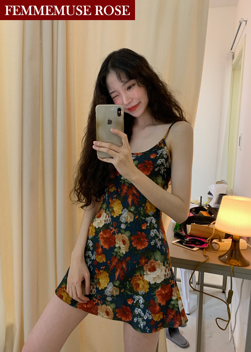 ❀FEMMEMUSE ROSE❀ {REEDITION} GISELLE FLORAL FLARE SLIP DRESS(BLUISH GREEN)