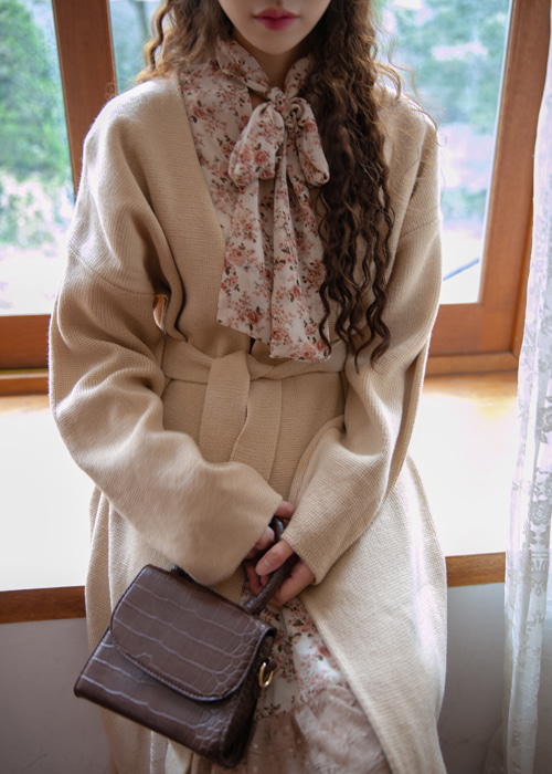 LOOSE LONG KNIT CARDIGAN WITH BELT(LIGHT BEIGE, GREY, BROWN, BLACK 4COLORS!)
