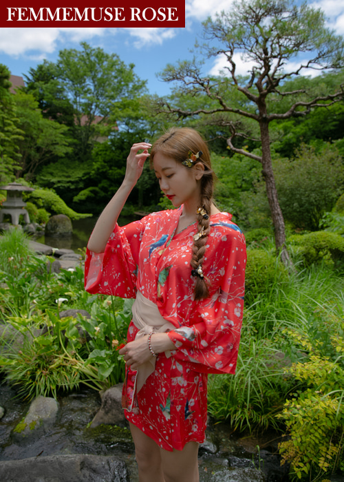 ❀FEMMEMUSE ROSE❀ KIMONO ROBE DRESS BELT SET(RED)