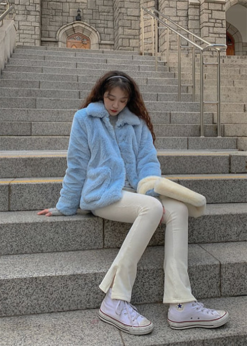 CANDY SOFT FUR JACKET(YELLOW, PINK, SKY BLUE, MINT 4COLORS!)