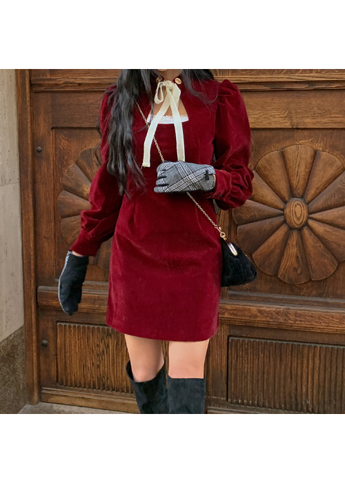 (♥팜므뮤즈 단독진행♥)VELVET SQUARE NECK RIBBON DRESS(BURGUNDY, BLACK 2COLORS!)