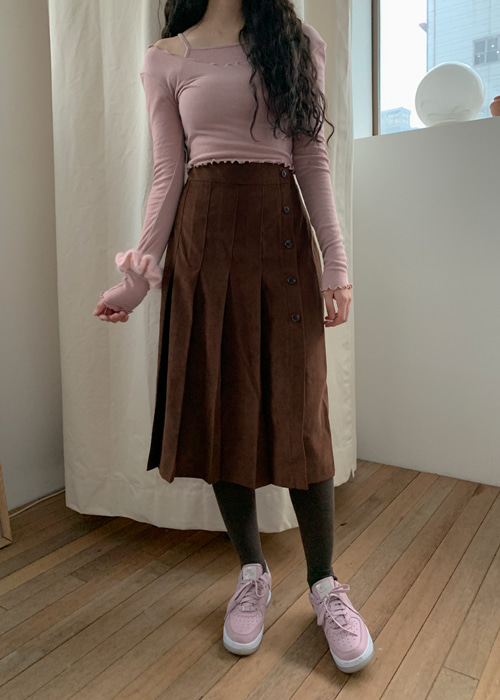BUTTON PLEATS LONG SKIRT(BEIGE, PINK, BROWN, BLACK 4COLORS!)