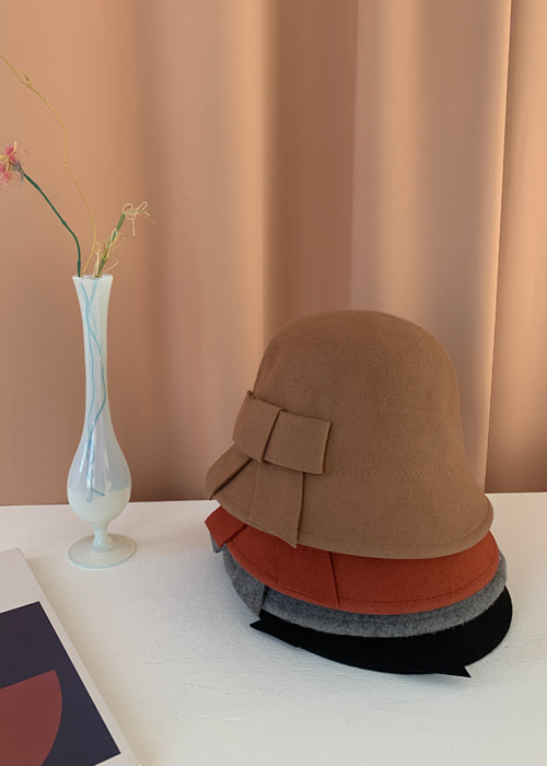 WOOL RIBBON BUCKET HAT(BEIGE, SCARLET, GREY, BLACK 4COLORS!)