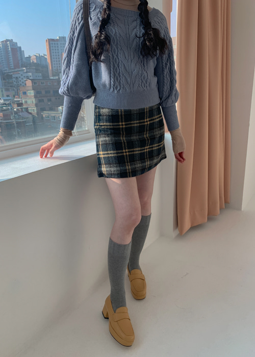 (♥팜므뮤즈 단독진행♥)(WOOL 60%) CHLOE A-LINE CHECK SKIRT(NAVY)