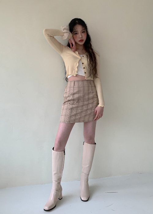 WENDY CHECK SKIRT WITH BELT(BEIGE, KHAKI, BLACK 3COLORS!)