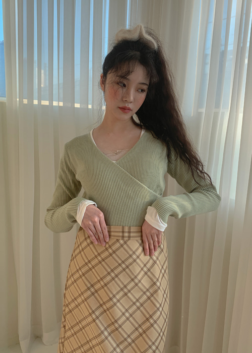 WRAP V-NECK KNIT(CREAM, BEIGE, LIGHT YELLOW, PINK, KHAKI, BLACK 6COLORS!)