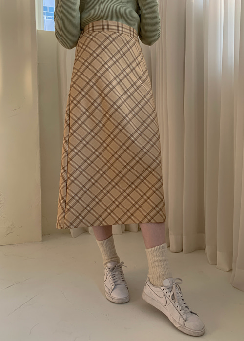 PRINTEMPS VINTAGE CHECK SKIRT(BEIGE, GREY 2COLORS!)