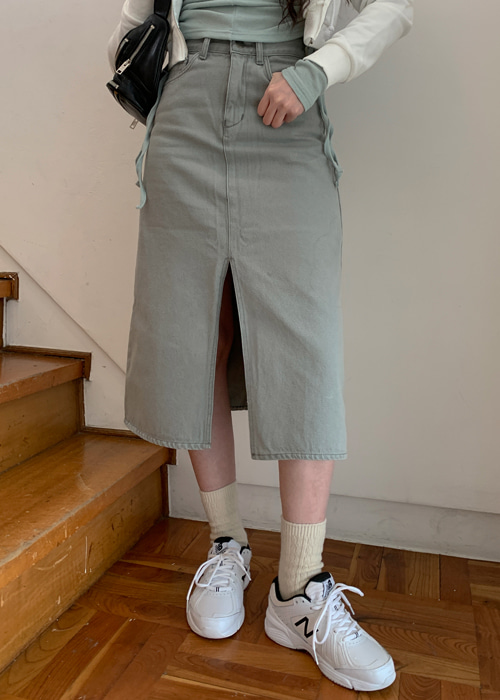 90'S DENIM SLIM LONG SKIRT(LIGHT GREY, GREY, BLACK 3COLORS!)