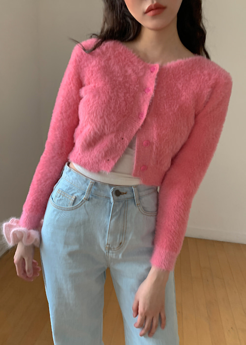 COSY FUR CROP CARDIGAN(PINK, GREY 2COLORS!)