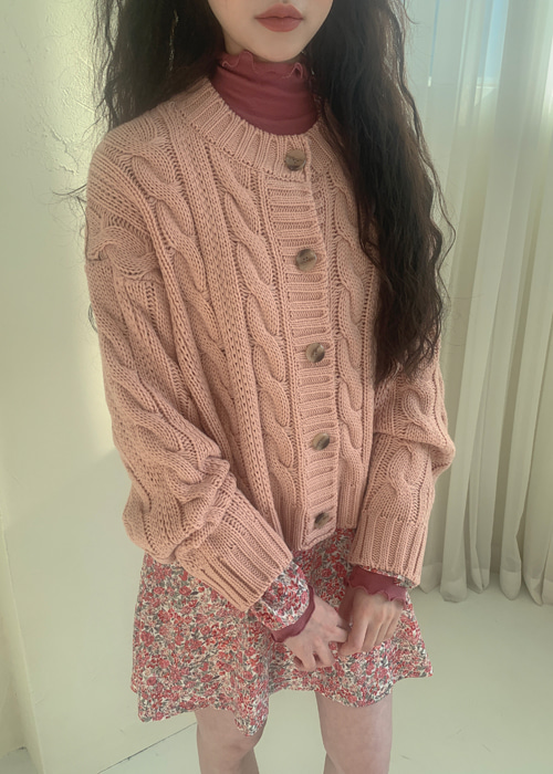 TWIST LOOSE KNIT CARDIGAN(CREAM, BEIGE, PINK, BLACK 4COLORS!)