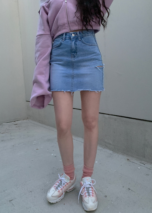 SIDE CUTTING DENIM SKIRT