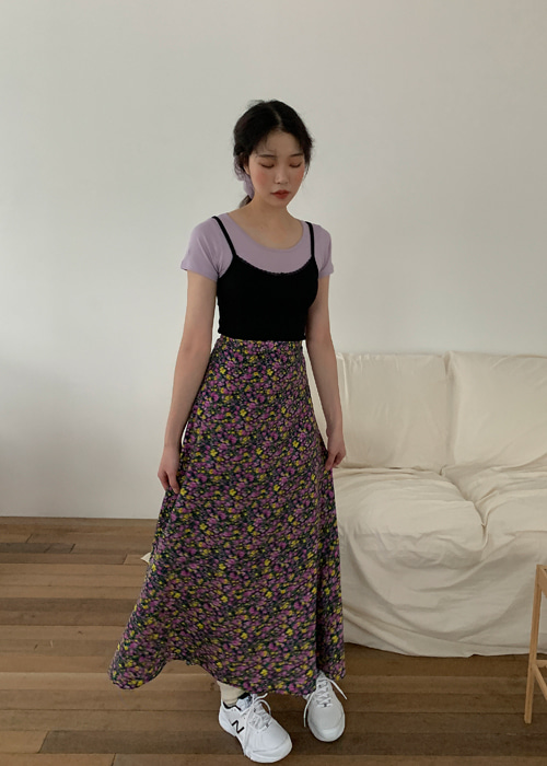 70'S FLORET LONG SKIRT(BLUE, PURPLE 2COLORS!)