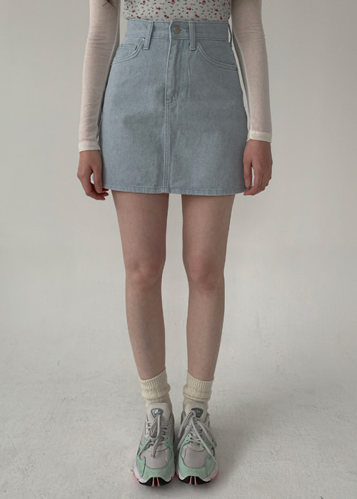 DYING DENIM SKIRT(BEIGE, BLUE 2COLORS!)